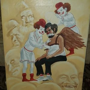 W.Shelton Clown Oil Painting Unframed Vintage